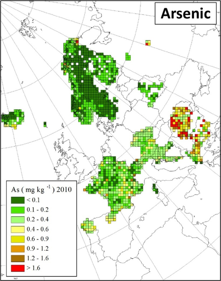"Deposition von Arsen in Europa (Quelle: H. Harmens et al (2015): Heavy metal and nitrogen concentrations in mosses are declining across Europe whilst some ""hotspots"" remain in 2010. Environmental Pollution 200 (2015) 93-104.)"
