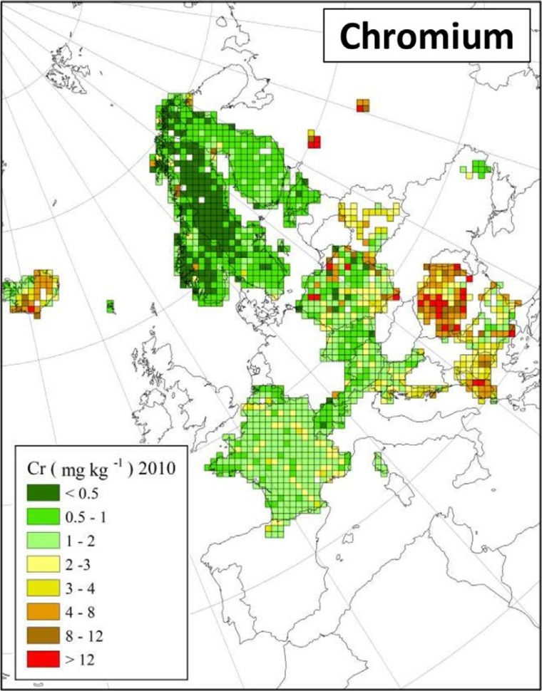 "Deposition von Chrom in Europa (Quelle: H. Harmens et al (2015): Heavy metal and nitrogen concentrations in mosses are declining across Europe whilst some ""hotspots"" remain in 2010. Environmental Pollution 200 (2015) 93-104.)"