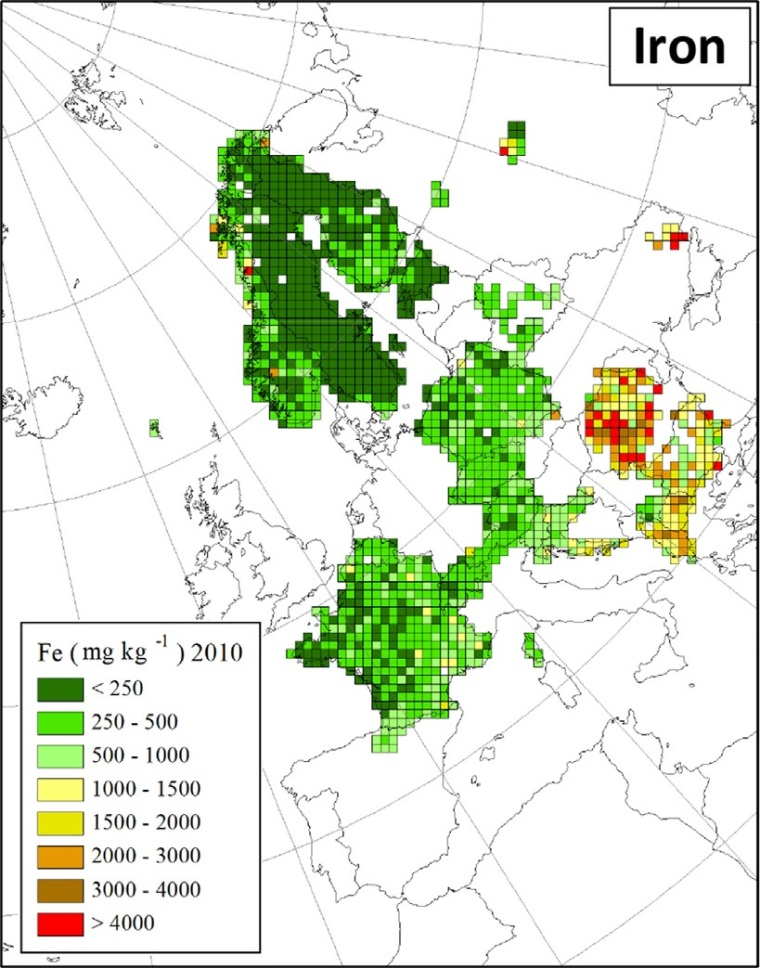 "Deposition von Eisen in Europa (Quelle: H. Harmens et al (2015): Heavy metal and nitrogen concentrations in mosses are declining across Europe whilst some ""hotspots"" remain in 2010. Environmental Pollution 200 (2015) 93-104.)"