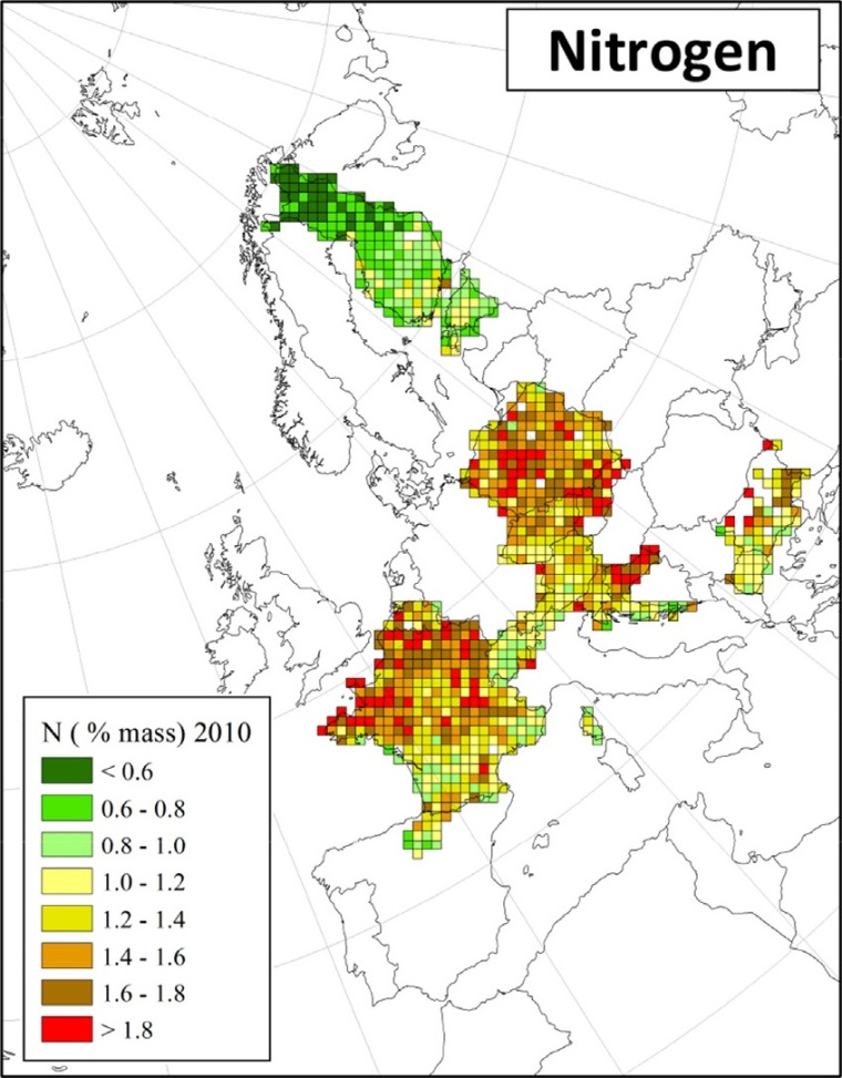 "Deposition von Stickstoff in Europa (Quelle: H. Harmens et al (2015): Heavy metal and nitrogen concentrations in mosses are declining across Europe whilst some ""hotspots"" remain in 2010. Environmental Pollution 200 (2015) 93-104.)"