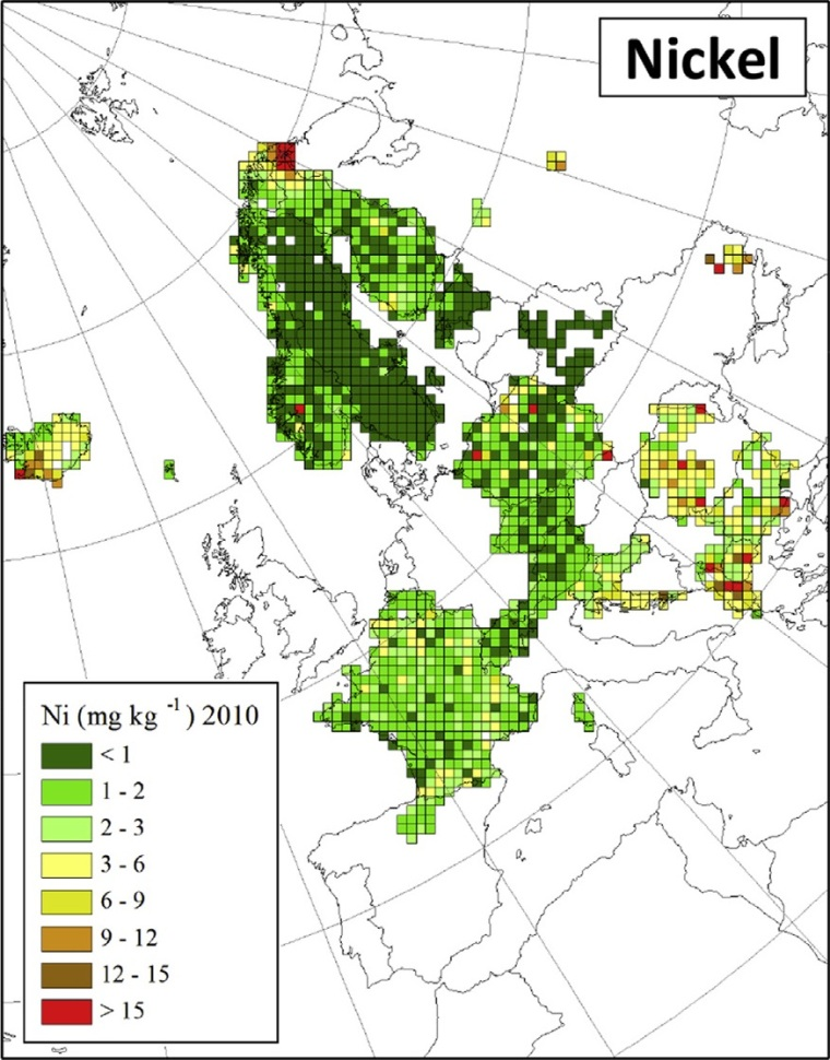 "Deposition von Nickel in Europa (Quelle: H. Harmens et al (2015): Heavy metal and nitrogen concentrations in mosses are declining across Europe whilst some ""hotspots"" remain in 2010. Environmental Pollution 200 (2015) 93-104.)"
