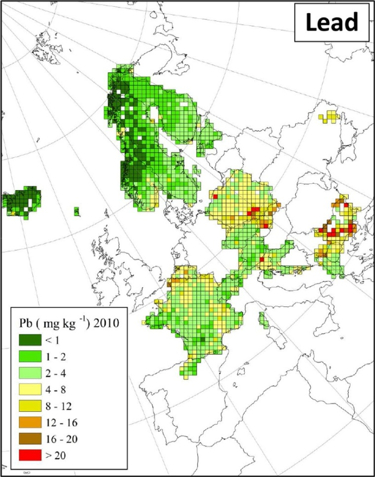 "Deposition von Blei in Europa (Quelle: H. Harmens et al (2015): Heavy metal and nitrogen concentrations in mosses are declining across Europe whilst some ""hotspots"" remain in 2010. Environmental Pollution 200 (2015) 93-104.)"