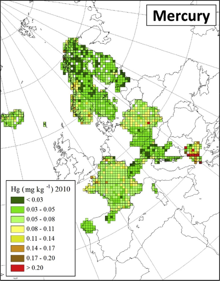 "Deposition von Quecksilber in Europa (Quelle: H. Harmens et al (2015): Heavy metal and nitrogen concentrations in mosses are declining across Europe whilst some ""hotspots"" remain in 2010. Environmental Pollution 200 (2015) 93-104.)"