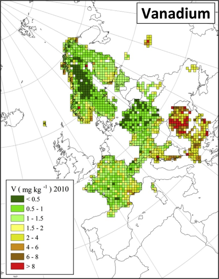 "Deposition von Vanadium in Europa (Quelle: H. Harmens et al (2015): Heavy metal and nitrogen concentrations in mosses are declining across Europe whilst some ""hotspots"" remain in 2010. Environmental Pollution 200 (2015) 93-104.)"